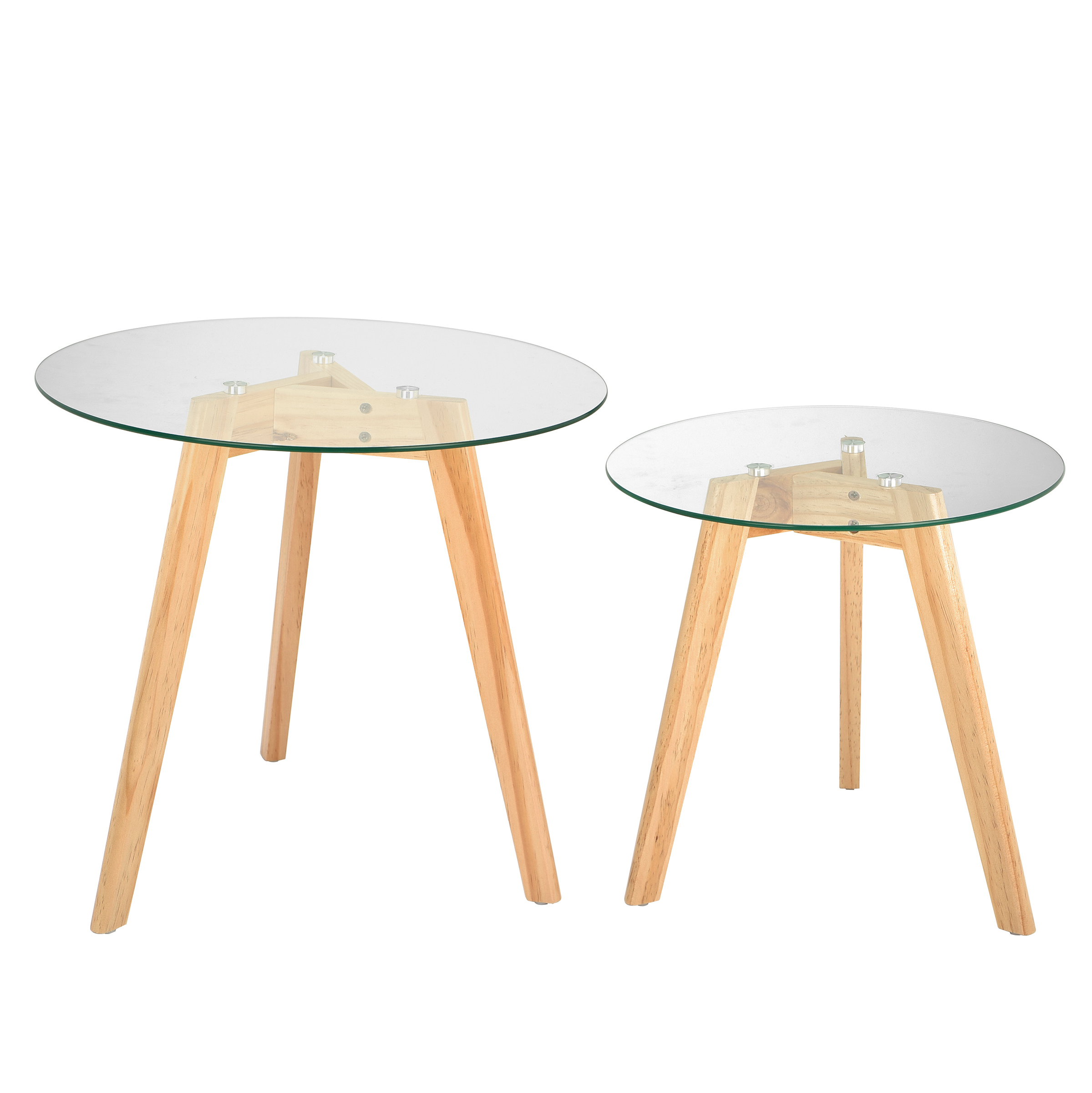 "ADIRHOME ""TOTALLY NATURAL"" GLASS TOP TABLES IN TWO SIZES FIT ANYWHERE"