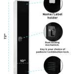 LARGE BLACK LOCKER 1 DOOR 2 SHELVES AND 2 HOOKS