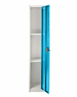 LARGE BLUE LOCKER 1 DOOR 2 SHELVES AND 2 HOOKS