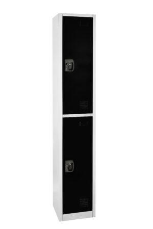 Large Black Locker with 2 doors 2 hooks.