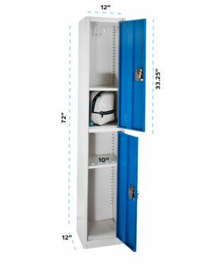 LARGE BLUE LOCKER WITH 2 DOORS 2 HOOKS