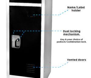 LARGE BLACK LOCKER WITH 3 DOORS 3 HOOKS