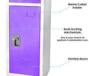 Large Purple Locker with 3 doors 3 hooks.