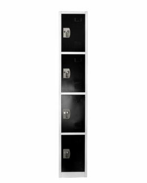 LARGE BLACK LOCKER WITH 4 DOORS 4 HOOKS