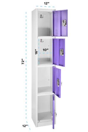 Large Purple Locker with 4 doors 4 hooks