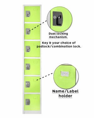 Large Green Locker with 6 doors 6 hooks