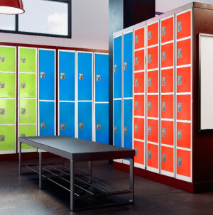 Large Red Locker with 6 doors 6 hooks