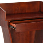 Wood Speaking Lectern, Drawer and Storage Area (Cherry Wood Grain)