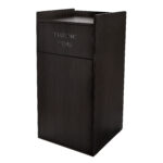 BLACK 40 GALLON WOOD RECEPTACLE ENCLOSURE WITH DROP HOLE AND TRAY SHELF