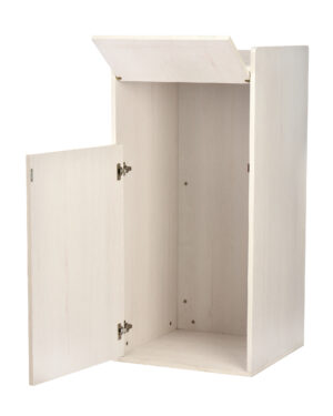 WHITE 40 GALLON WOOD RECEPTACLE ENCLOSURE WITH DROP HOLE AND TRAY SHELF