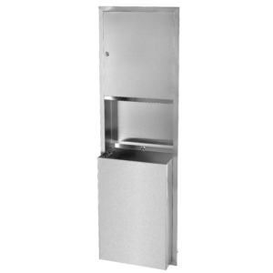 Recessed Stainless Steel Paper Towel Dispenser and Waste Receptacle