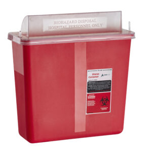 Sharps Container 5 Quart with Mailbox Style Horizontal Lid - Single Pack