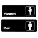 Alpine Industries Men's and Women's Restroom Signs, 3x9, Set of 2