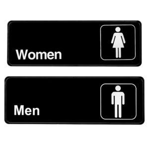 Alpine Industries Men's and Women's Restroom Signs, 3x9, Set of 2