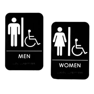 Alpine Industries Men's and Women's Accessible Restroom Signs, with Braille, 6×9, Set of 2