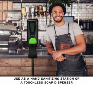 AUTOMATIC HANDS FREE FOAM HAND SANITIZER/SOAP DISPENSER WITH FLOOR STAND, 1200ML, BLACK