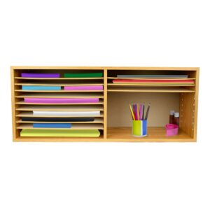 Extra Wide Wood Construction Paper Organizer - Medium Oak