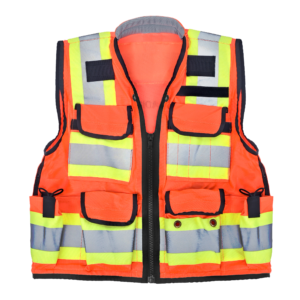 Heavy Duty Class 2 Surveyors Utility Safety Vest, Orange, Extra Extra Large