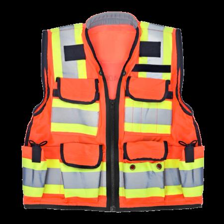 Heavy Duty Class 2 Surveyors Utility Safety Vest, Orange, Extra Extra Large