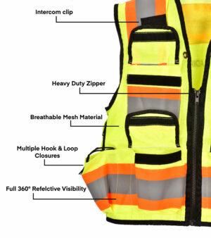 Heavy Duty Class 2 Surveyors Utility Safety Vest, Yellow, Medium