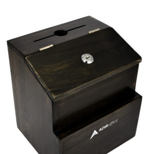 Rustic Suggestion Box with Lock: Wooden Ballot Comment Box