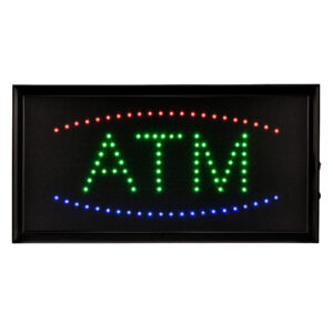 """19"""" x 10"""" LED Rectangular Blue and Green ATM Sign with Two Display Modes"""