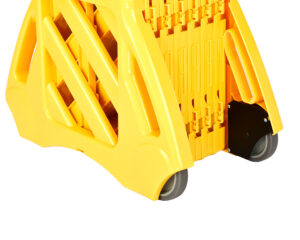 With Alpine Industries 13-Foot Expandable Mobile Safety Barricade System, you're sure to send out a crystal clear message about areas within or outside your facility that are off limits. The standard bright yellow color of the unit and the bi-lingual safety message printed on the unit will easily be noticeable, even from a distance, in order to promote safety for staff and helping others to keep at a careful distance. The unit is quick to set up, offering maintenance workers, repairmen and other professionals, on-the-job convenience and security.