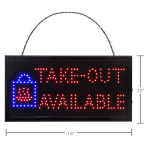 """19"""" W x 10"""" H LED Rectangular Take-Out Available Sign with Two Display Modes"""